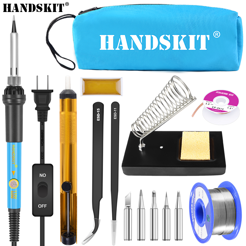 Handskit 60W 110V 220V Adjustable Temperature Soldering Iron Kit With ON/Off 5 Tips Desoldering Pump Wick Soldering Holder Iron цена