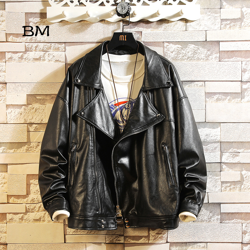 2019 Fashion Biker Leather Jacket Men Streetwear Winter Pu Bomber Jacket Motorcycle Blouson Plus Velvet To Keep Warm Jackets