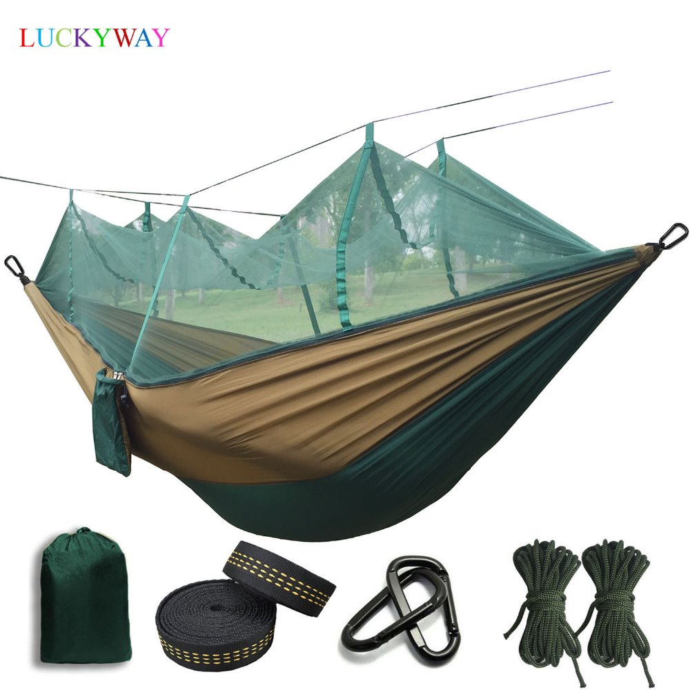Dropshipping 1 2 Person Outdoor Mosquito Net Parachute Hammock Camping Hanging Sleeping Bed Swing Portable Double