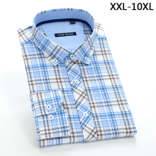 2017 New comming  plaid Mens 100% cotton shirts formal dress shirts very big large plus size XXL-4XL 5XL 6XL 7XL 8XL 9XL 10XL