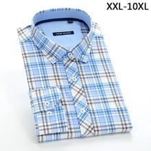 2017 New comming  plaid Mens 100% cotton shirts formal dress shirts very big large plus size XXL-4XL 5XL 6XL 7XL 8XL 9XL 10XL