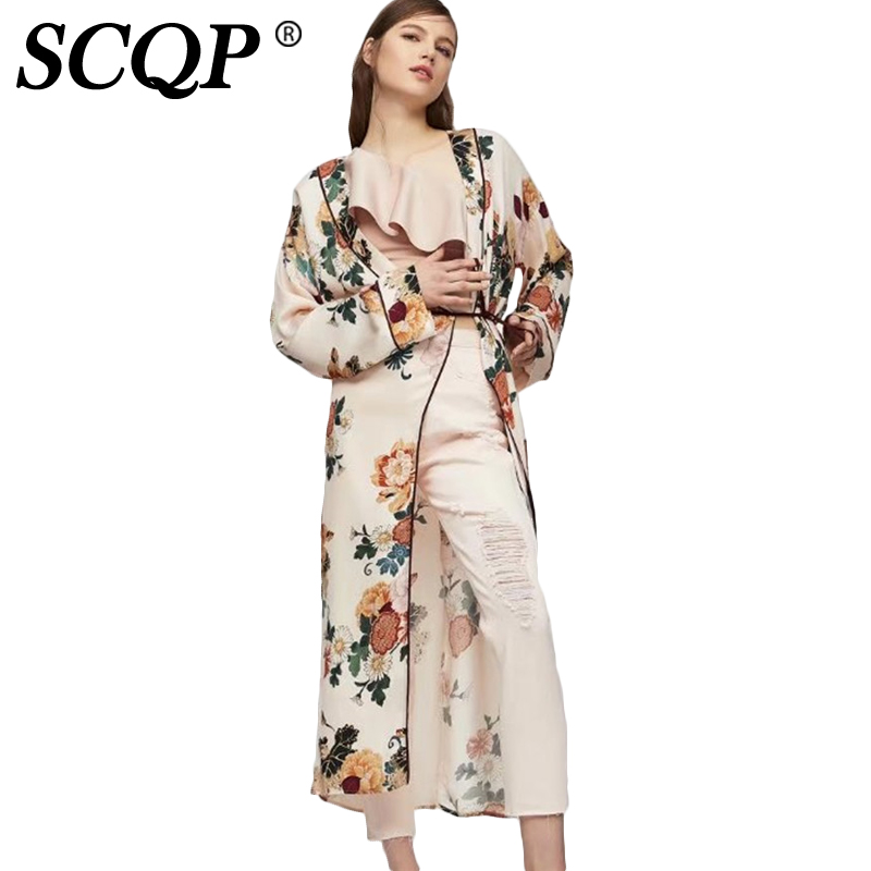 scqp print bow lacce up floral kimono ladies long sleeve loose woman kimono cardigan elegant. Black Bedroom Furniture Sets. Home Design Ideas