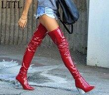 Lttl automne clair-talon brevets de vachette chaussons plexi-talon sur le genou noir latex cuissardes bottes de mode femmes 9 cm talons