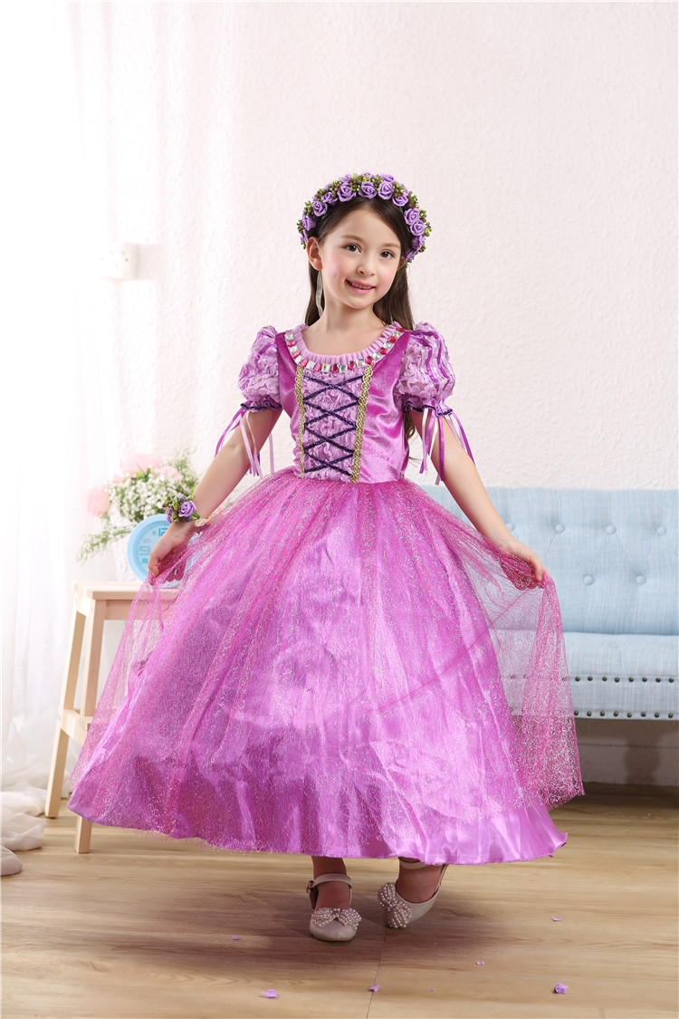 girl dress Rapunzel Princess Kids Party Dress Halloween Christmas gift  Tangled Cosplay Costume Girl Clothes Fantasia Vestidos