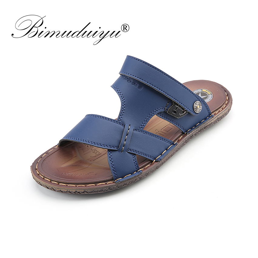 633becc5b9f BIMUDUIYU 2018 New Summer Mens Beach Shoes Men s Sandals High Quality  Sandals Men Causal Shoes Leather Sandals For Men