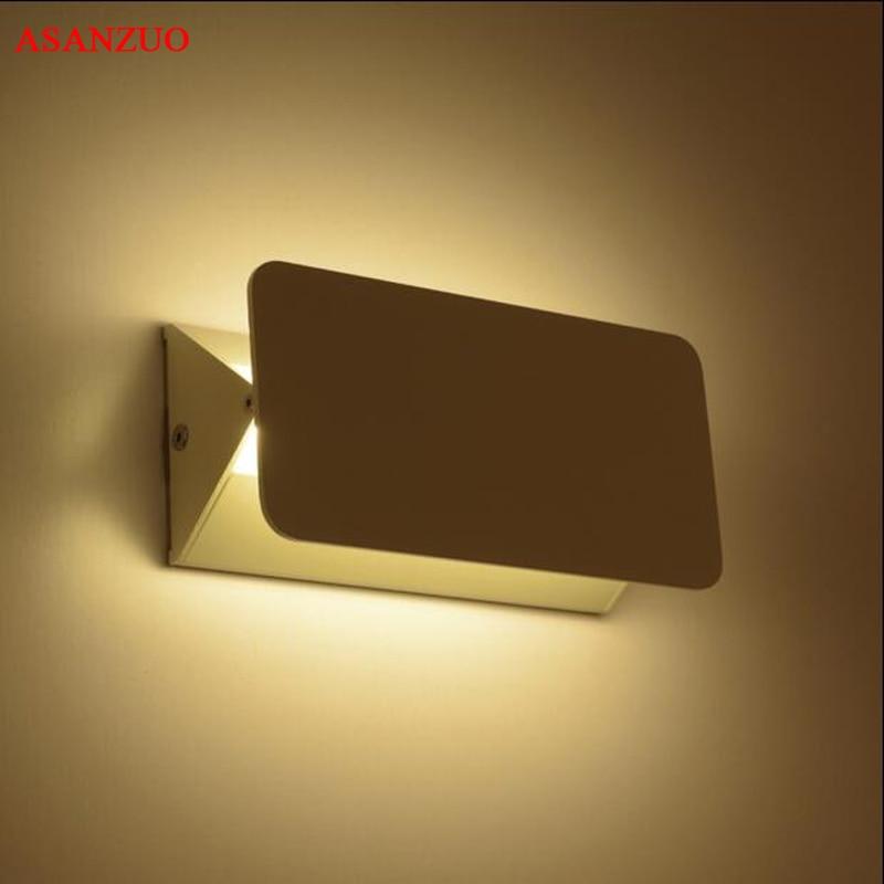 Bílé obdélníkové hliníkové nástěnné svítilny 180 ° otočné LED nástěnné svítidla svítidla pro obývací pokoj v ložnici uličky