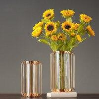 Modern minimalist creative metal vase hotel club metal ornaments home decorations living room lobby home furnishings gifts