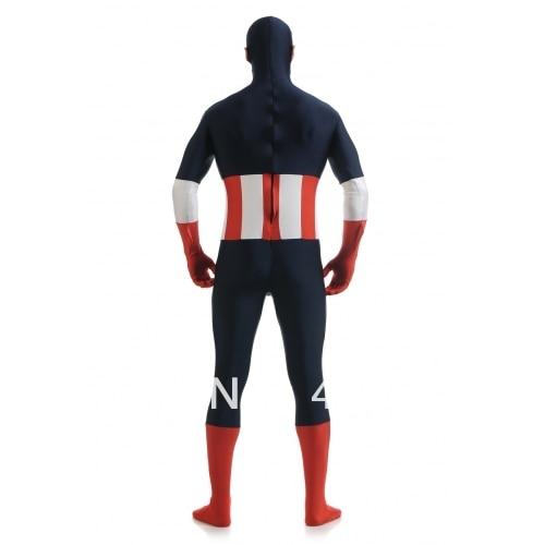 Tamsiai mėlyna ir raudona ir balta spandekso kostiumas Captain - Karnavaliniai kostiumai - Nuotrauka 4