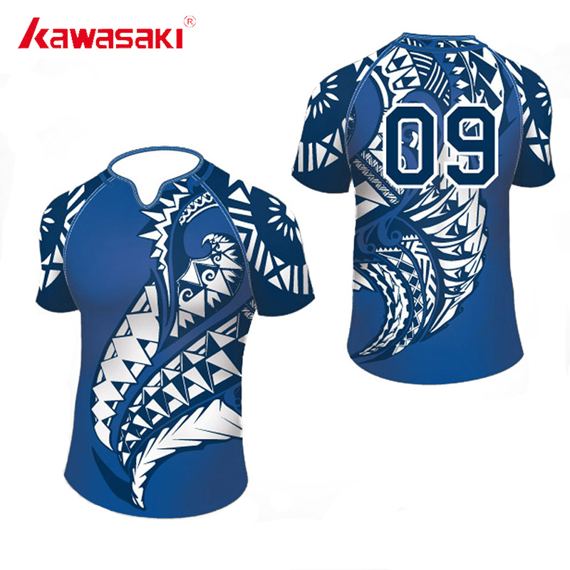 2018 Kawasaki Custom Rugby Jersey Top Heren & Dames Sublimatie 100% Polyester Sneldrogende Jeugd Trainingsmatch Teamkleding Shorts