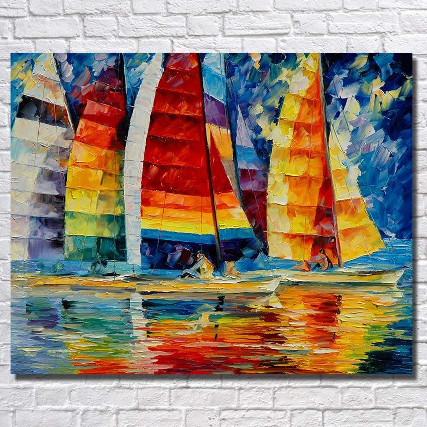 Colorful Sailboat Living Room Wall Pictures Abstract Oil Paintings Home Decoration Wall Art