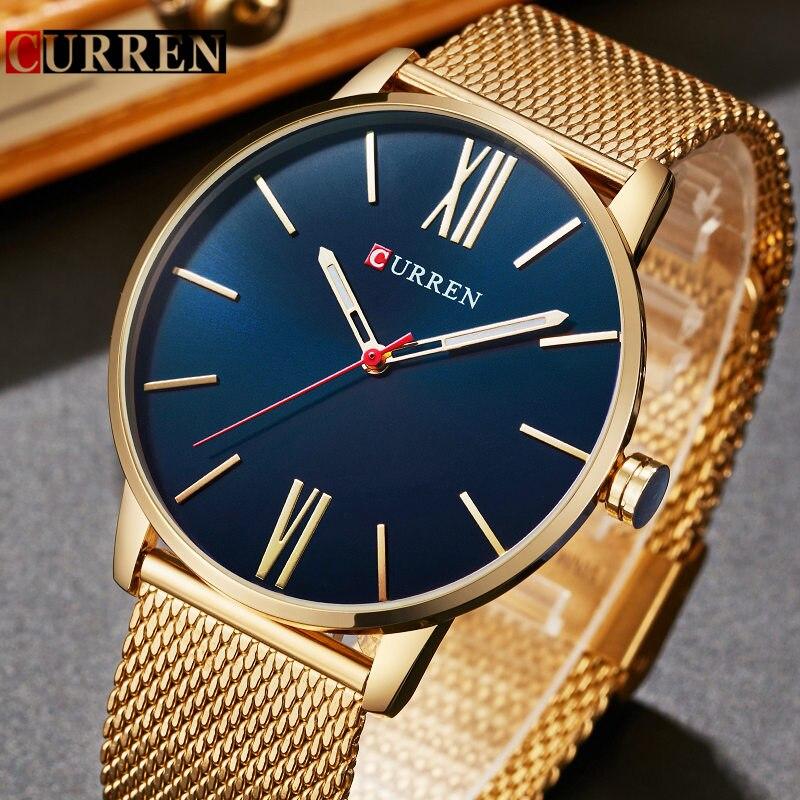 CURREN Gold Quarz Mann Uhr Männer Uhren Edelstahl Goldene Uhren Männlich Armbanduhr Uhr Männer Hodinky Relogio Masculino 8238
