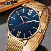 CURREN Gold Quartz Man Watch Men Watches Stainless Steel Golden Watches Male Wristwatch Clock Men Hodinky