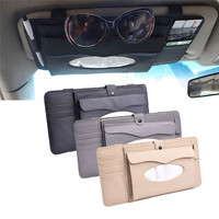 Multifunctional Car Sun Visor Tissue Box CD Clip Type Auto Tissue Box Leather Car Styling Automobile