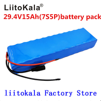 LiitoKala 7S5P 29.4v 15Ah electric bicycle motor ebike scooter 24v li ion battery pack 18650 lithium rechargeable batteries 15A