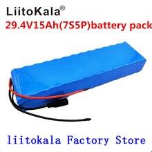 LiitoKala motor de bicicleta eléctrica 7S5P, 29,4 v, 15Ah, 24v, paquete de batería de iones de litio, baterías recargables de litio 18650, 15A