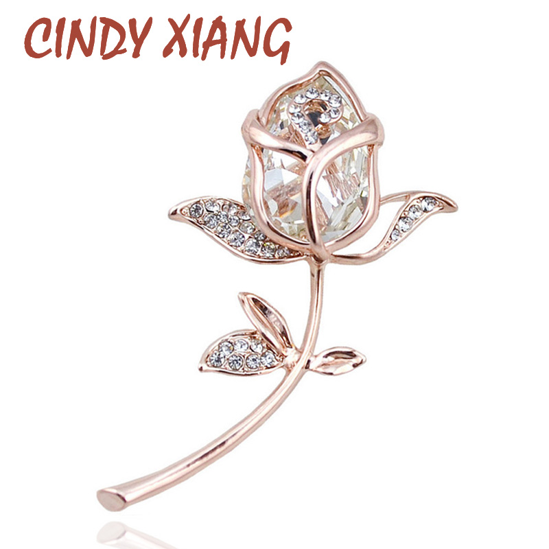Brookhes CINDY XIANG Crystal Rose for Women Bruches & Pins Elegant 4 Ngjyra Në dispozicion Bizhuteri E Modës Cute Rhinestone