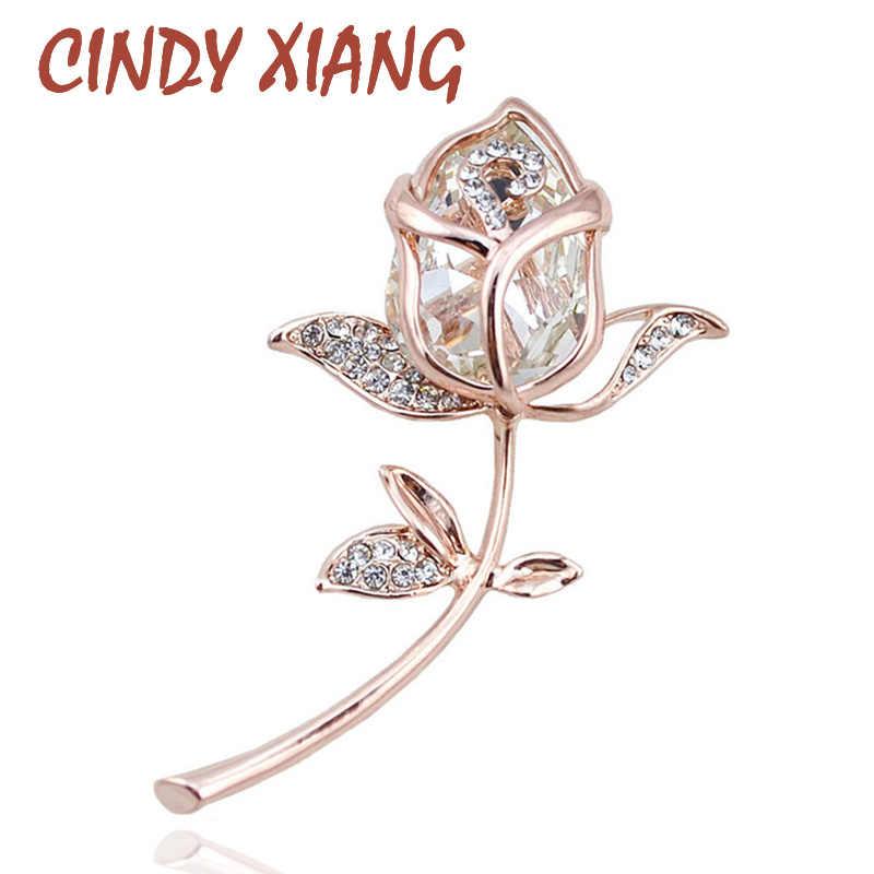 CINDY XIANG Kristall Rose Broschen für Frauen Elegante Broschen & Pins 4 Farben Erhältlich Nette Mode Schmuck Strass Brosche
