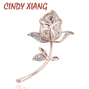 CINDY XIANG Crystal Rose Brooches for Women Elegant Brooches & Pins 4 Colors Available Cute Fashion Jewelry Rhinestone Brooch(China)