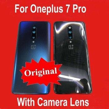 100% الأصلي جديد الزجاج ل Oneplus 7 برو غطاء البطارية الخلفي الغطاء الخلفي حالة الإسكان + كاميرا عدسة الإطار + لاصق ملصق