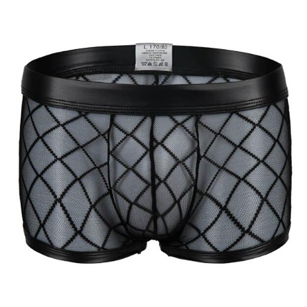 Gay Bar Performance Mens Boxers Underwear Sexy Black Plaid Fishnet Boxer Mesh Transparent See through Underpants