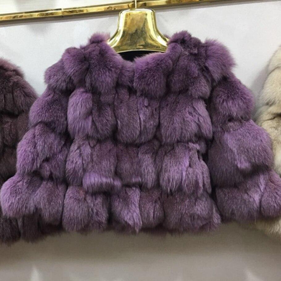 Women real fox fur coat o neck fur outerwear female three quarter sleeve short design patchwork