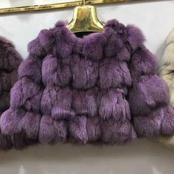 Women real fox fur coat o-neck fur outerwear female three quarter sleeve short design patchwork fox fur jacket - DISCOUNT ITEM  0% OFF All Category