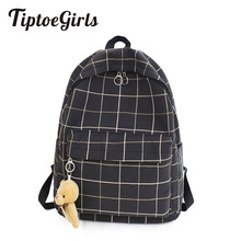 Small Fresh Plaid Canvas Ladies Backpack New Fashion High Quality Student Bag Ca