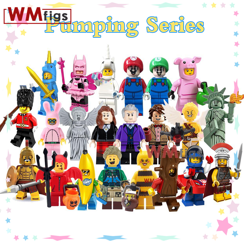 Pumping Building Blocks Unicorn Doctor Who Fairy Batman Car Super Mario Royal Guard Roman Commander  Toys for Children(China)