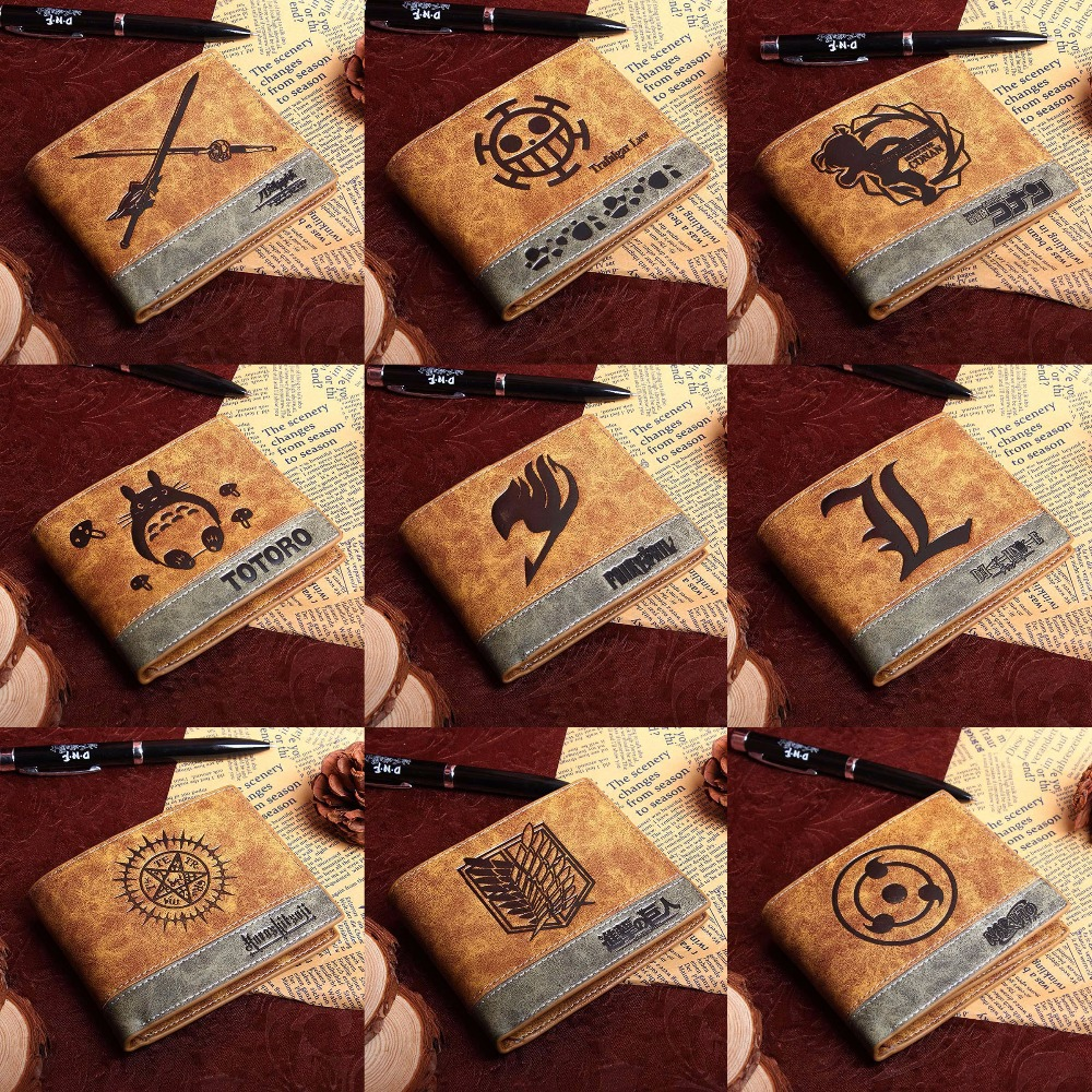 PU Short Wallet Of Anime Black Butler Death Note Fairy Tail  Naruto One Piece Totoro Sword Art Online With Coin Pocket