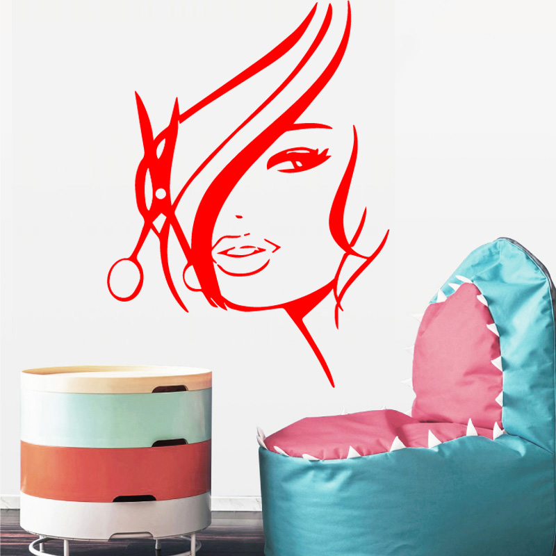 Hair Cut Woman Wall Stickers Modern Fashion Wall Sticker Home Decoration Accessories for ...