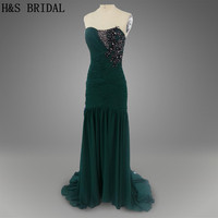 Real photo Green color Long chiffon Appliques beading Sexy New arrival evening dresses