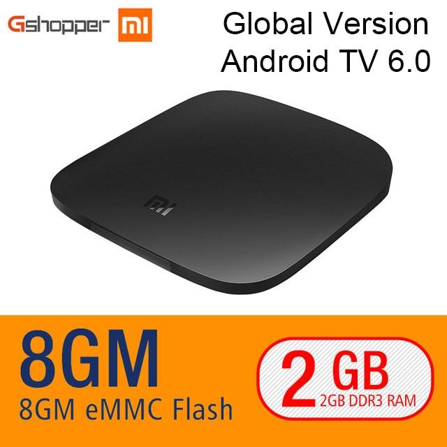 Original Xiao mi TV BOX 3 Android 6,0 2G/8g inteligente 4 K Quad Core película HDR decodificador Multi-idioma Netflix YouTube Google