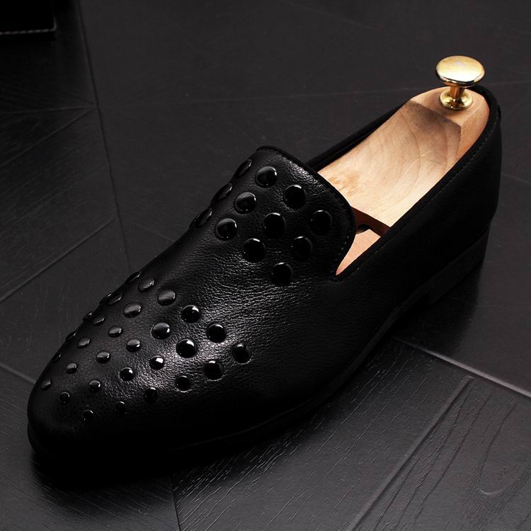 New Arrival Luxury Men Black Loafer Shoes Fashion Designer Slip On Rivets Trending Casual Shoes Man British Chic Zapatos 13