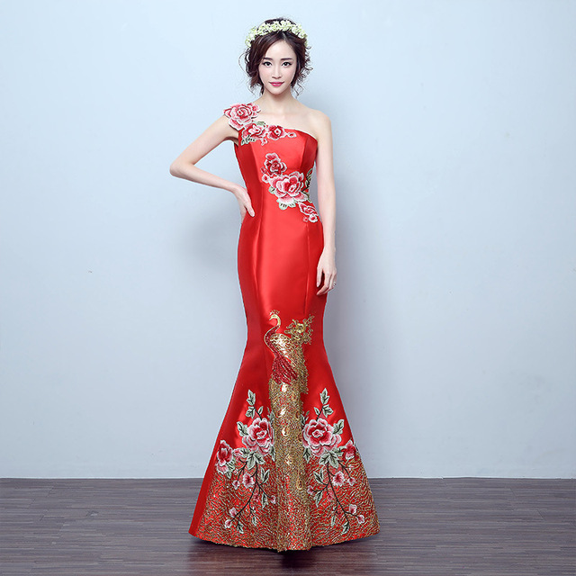 Bride Red Cheongsam Chinese Oriental Traditional Evening Gown Long ...
