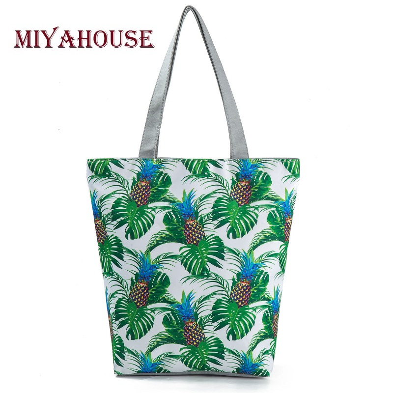 5 Colors Pineapple Printed Shoulder Bags For Female Summer Beach Bags High Capacity Women Canvas Tote Bag