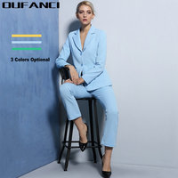 2017 Spring Skinny Ladies Pant Suits Fashion Brazers And Ankle Length Flare Pants Elegant Women S