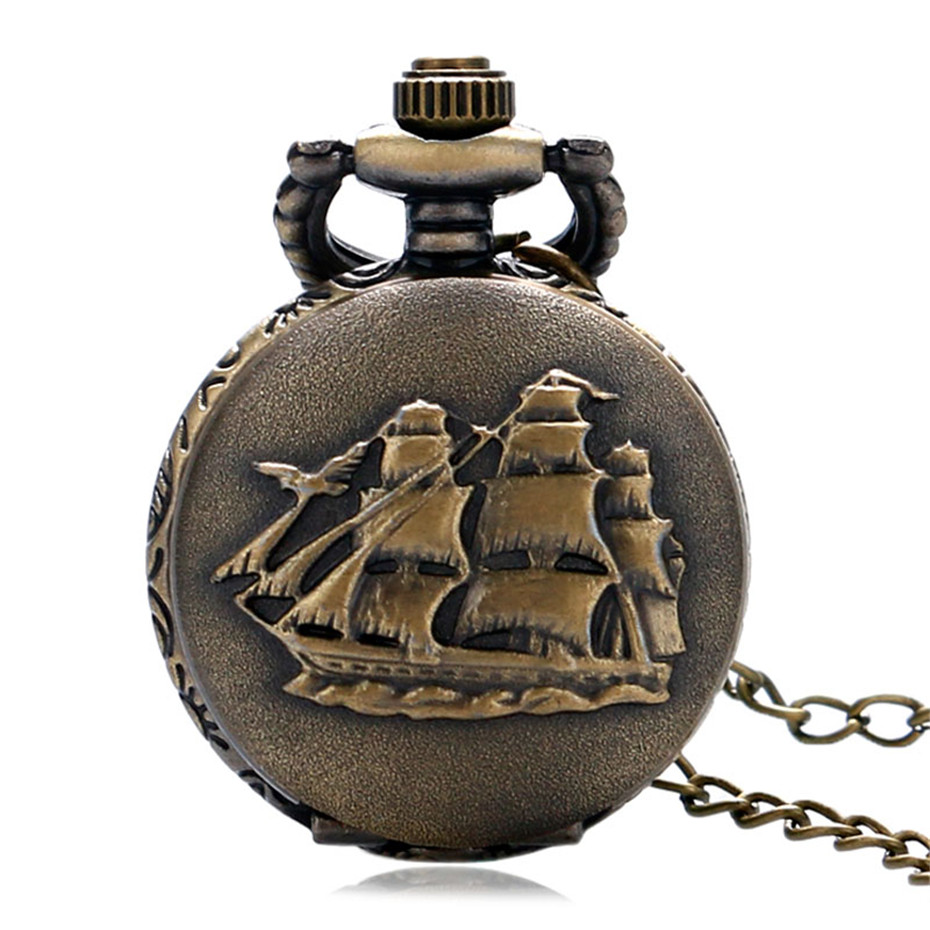 Fashion Sailboat Design Quartz Pocket Watch For Men Women Vintage Bronze Small Size Pendant With Necklace Chain Gift