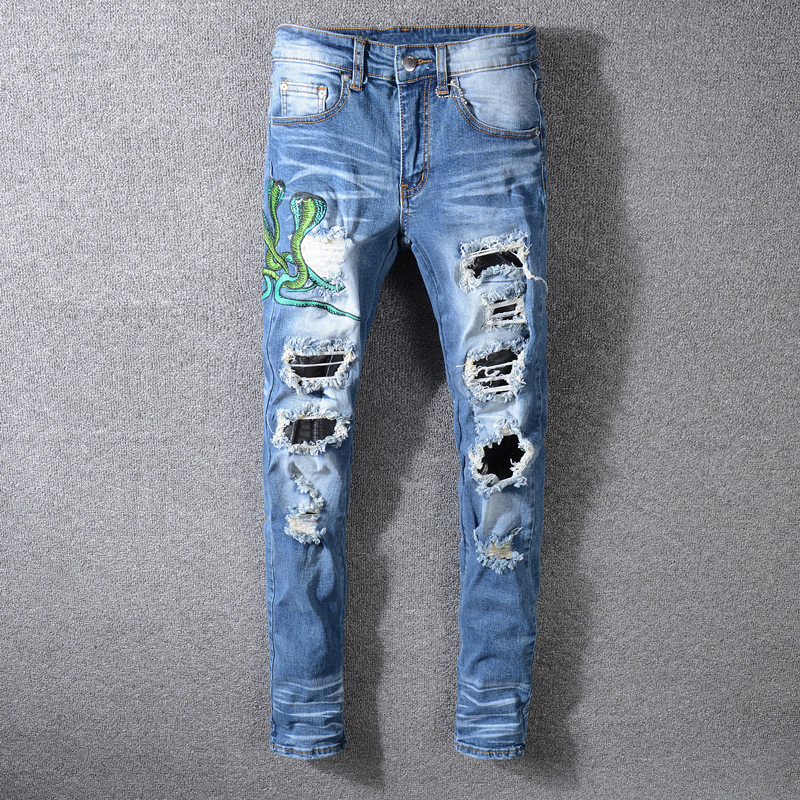 European American Streetwear Men Jeans Blue Color Destroyed Ripped Jeans Men Slim Fit Cobra Embroidery Fashion Hip Hop Jeans