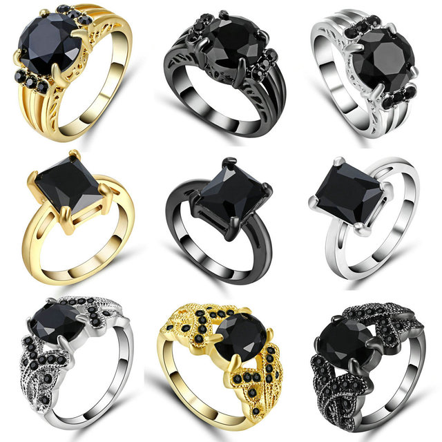 TianBo Brand Black Nano Cubic Zirconia Rings Black Silver Gold Color Fashion Party Crystal Punk Ring For Women Jewelry Size 7