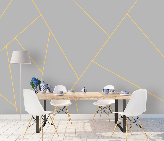 Bacaz Grey Yellow Lines 8d3d Geometry Wallpaper Murals For Living