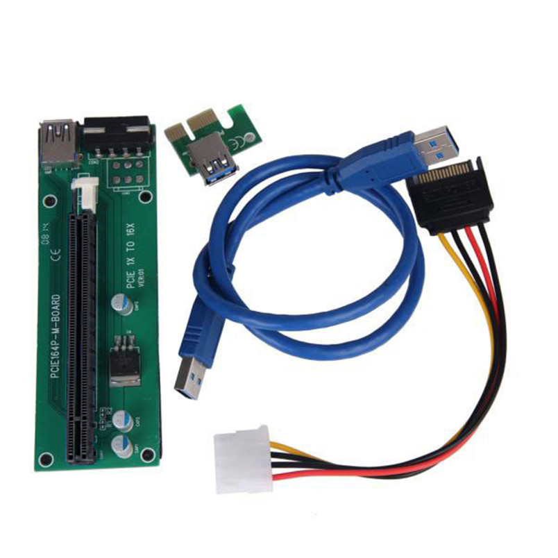 D3 CE certification and RoHS One Set PCI-E Express Powered Riser Card W/ USB 3.0 extender Cable 1x to 16x Monero