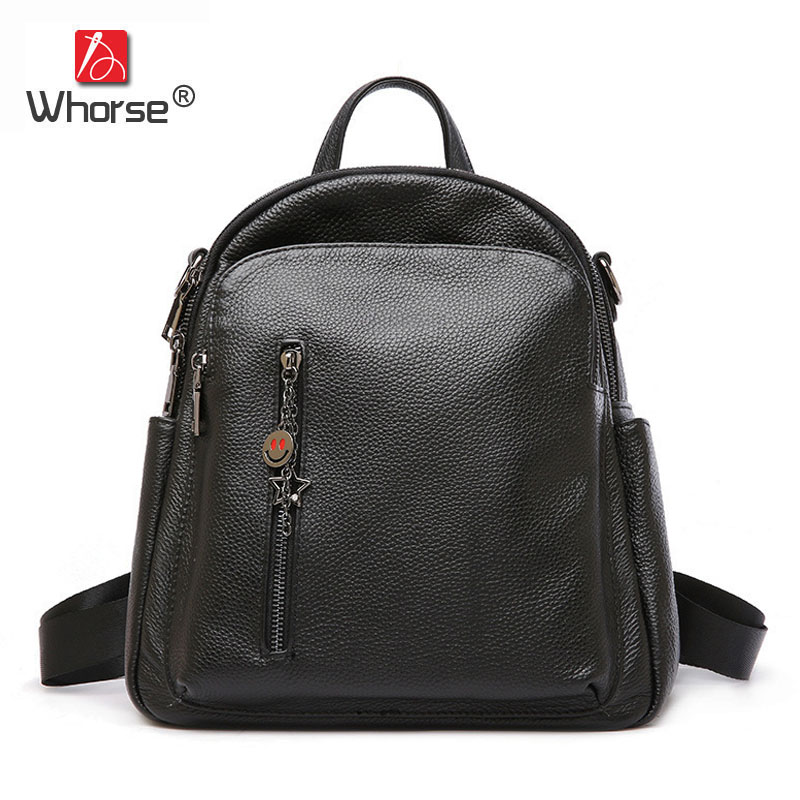 цена на Famous Brand Women Backpack Real Cowhide Ladies Daypack Backpacks Travel Bags Genuine Leather Back Pack Black W09790