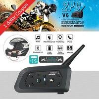 QPLOVE VnetPhone 2set V6 Bluetooth Intercom Moto Motorcycle Helmet Accessories Speaker 1200m Interphone Headset Support Wireless