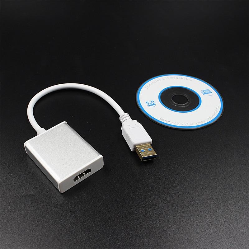 Nuevo 1 unid PC buen USB 3,0 a HDMI convertidor Cable pantalla adaptador gráfico fr HDTV HD 1080 p Audio plata con controlador de CD caliente