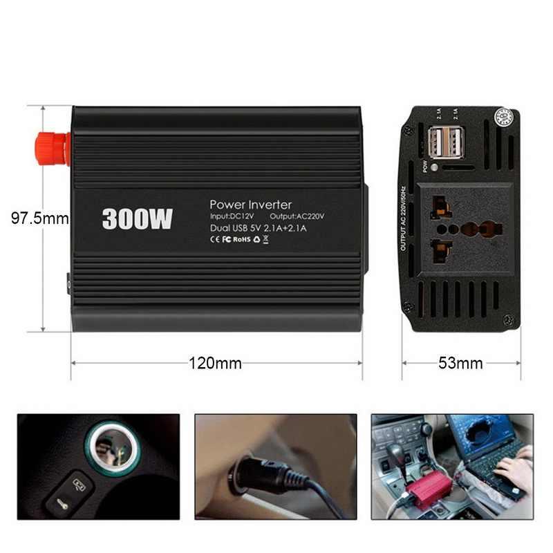 Inversor de corriente del coche 300W DC 12V a 110 V/220 V AC convertidor con 2.1A Dual USB convertidor de energía del cargador del coche silencioso