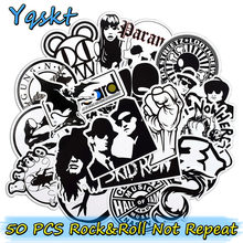 50 Pcs Rock Music Punk Graffiti Black and White Sticker Pack Cool Suitcase Skateboard Guitar Luggage Car Waterproof Stickers(China)