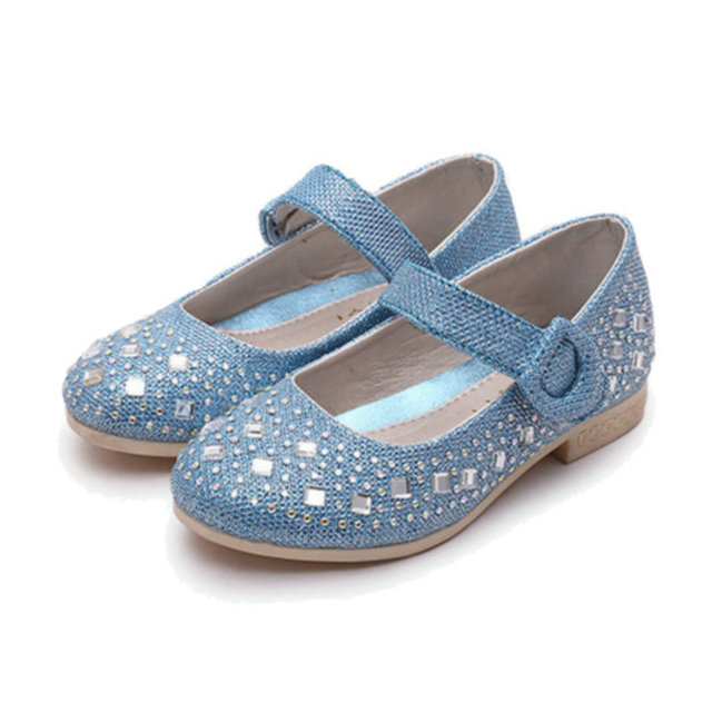 2016 new Children Princess Glitter Sandals Kids Girls Shoes Square Heels Dress Shoes Party Shoes soft soles Size 26~36