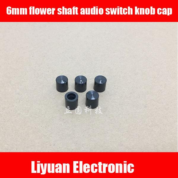 Apprehensive 100pcs 6mm Flower Axis Audio Switch Knob Cap Cylindrical Mixer Mixer Effect Potentiometer Knob Cap Potentiometers