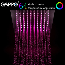 GAPPO shower head 12 Led Rainfall Shower Head system bath Square Color Changing Lights bathroom faucet water mixer hydropower square led color changing shower head for bathroom
