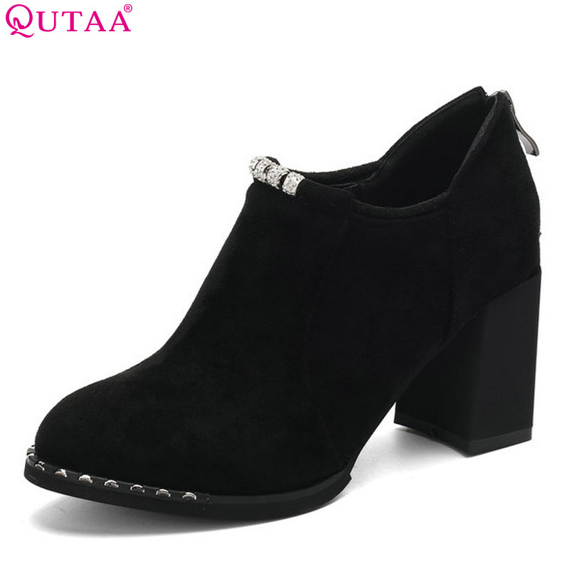 QUTAA 2018 Women Pumps  Flock Zipper Women Shoes Square High Heel Round Toe Platform Casual Westrn Style Women Pumps Size 34-43 nayiduyun women genuine leather wedge high heel pumps platform creepers round toe slip on casual shoes boots wedge sneakers